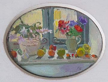 Philip Hogben Still Life Oil Painting Titled The Studio Window